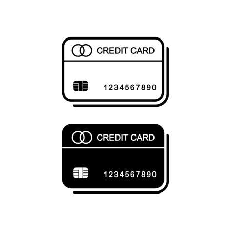 Credit card icon vector logo design black symbol isolated on white background. Vectores