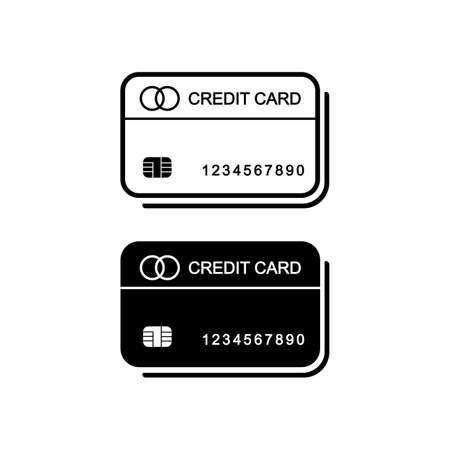 Credit card icon vector logo design black symbol isolated on white background. Illustration