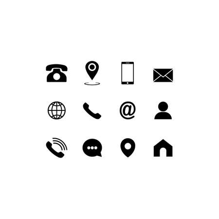 Set of communication icons set modern button . Phone, mobile phone, mail on isolated background for applications, web, app. EPS 10 vector
