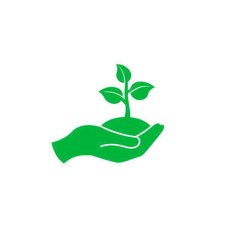 Hand holding seedlings with leaves or palm with sprout, ecology icon in green on an isolated white background.