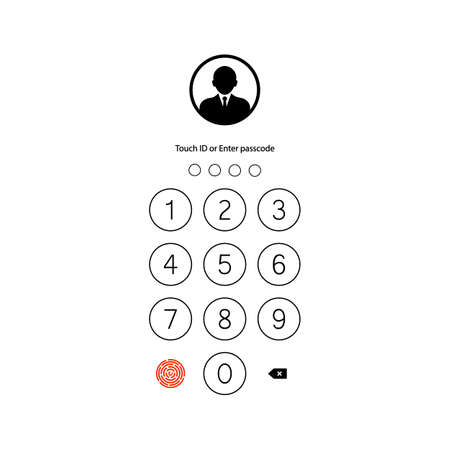 Touch ID or enter passcode, password, interface. Pass code smartphone back icon on isolated white background. EPS 10 vector