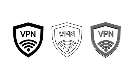 VPN safety shield icon set on isolated background for applications, web, app.