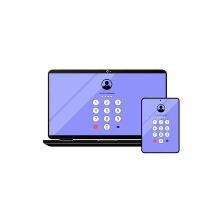 Touch ID or enter passcode, password, interface on laptop, desktop, computer, tablet icon flat on isolated white background. EPS 10 vector