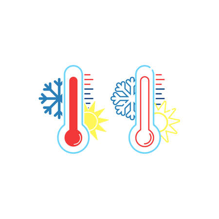 Thermometer measuring heat and cold, with sun and snowflake icons flat on isolated white background. Illustration