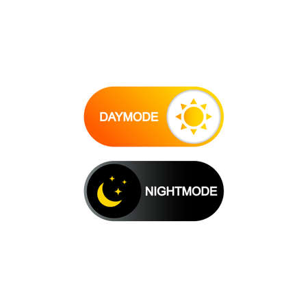 Switch on off day and night icon flat. Dark and light on off button for web, mobile on isolated white background.