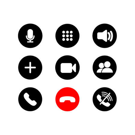 Mobile call buttons icons set flat. Phone, sound, microphone, camera, call symbols on isolated white background for applications, web, app. Set of communication icons. EPS 10 vector