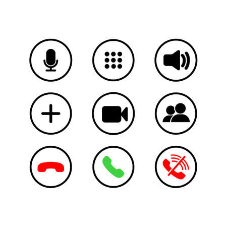 Mobile call buttons icons set flat. Phone, sound, microphone, camera, call symbols on isolated white background for applications, web, app.
