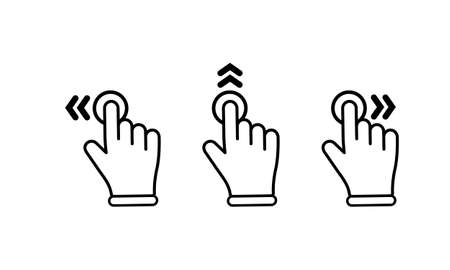 Swipe to left right up icon set. Finger touchscreen gestures on isolated white background. Illustration