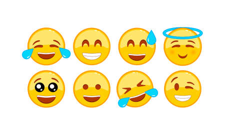 Laughing, funny emoji icon set. Smiley, emoticons. Facial expression on isolated white background.
