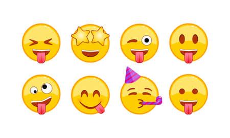 Funny, joyful, kind emoji icon set. Smiley, emoticons. Facial expression on isolated white background.