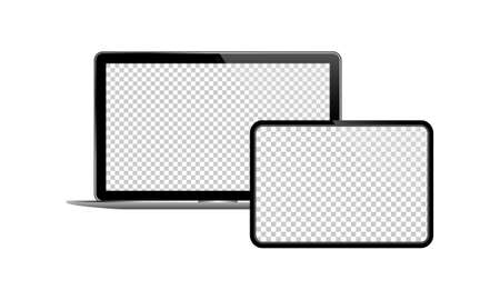 Laptop and tablet icon on isolated background. New device. Eps 10 vector.