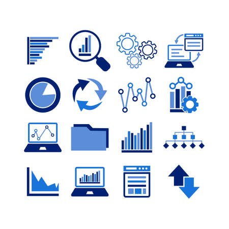 Business Infographic icons. Set of charts and graphs. Statistics, pictogram, data set on isolated white background. EPS 10 vector.