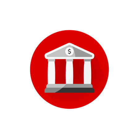 Bank icon flat on isolated white background. Vector EPS 10