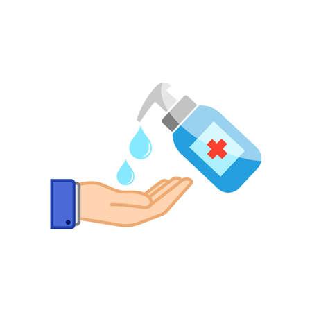 Hand sanitizer icon flat isolated on white background. EPS 10 vector