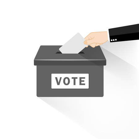 Vote. Hand putting paper in the ballot box. Voting concept in flat style on an isolated background. EPS 10 vector 向量圖像