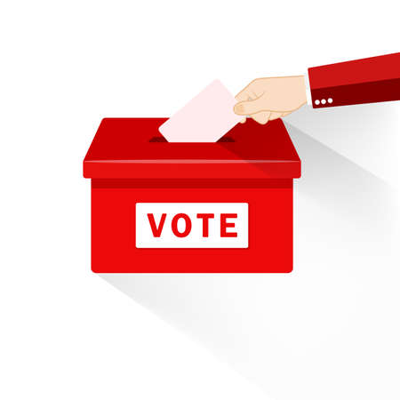 Hand putting paper in the ballot box. Voting concept in flat style on an isolated background. EPS 10 vector