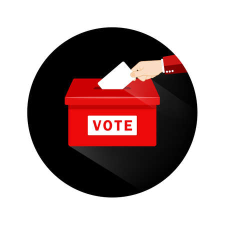 Voting concept. Hand putting paper in the ballot box. Vote in flat style on an isolated background. EPS 10 vector.