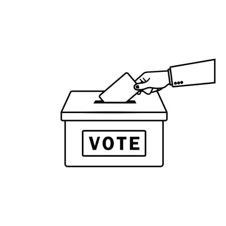 Vote. Hand putting paper in the ballot box. Voting concept in outline style on an isolated background. EPS 10 vector