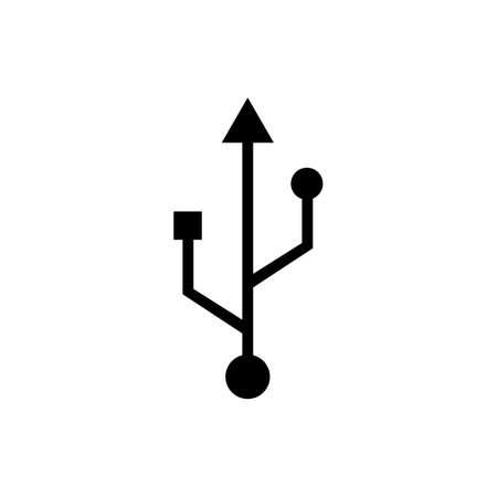 USB port icon on isolated white background. EPS 10 vector Vetores