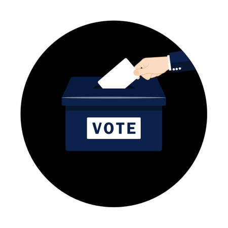 Vote. Hand putting paper in the ballot box. Voting concept in flat style on an isolated background. EPS 10 vector Ilustrace
