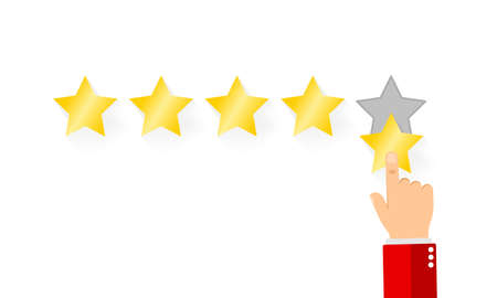 Pointing hand and five stars. Businessman hand giving five star rating. Customer reviews, user feedback concept. EPS 10 vector