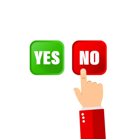 Yes no button and pointing hand icon flat for banners on isolated background.