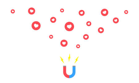 Magnet attracting hearts, like. Idea - Social networking articles appreciation feedback concept. Icon flat on isolated background.