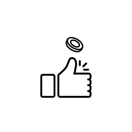 Coin flipping icon line. Toss or flip a coin or thumb up on isolated white background. Çizim