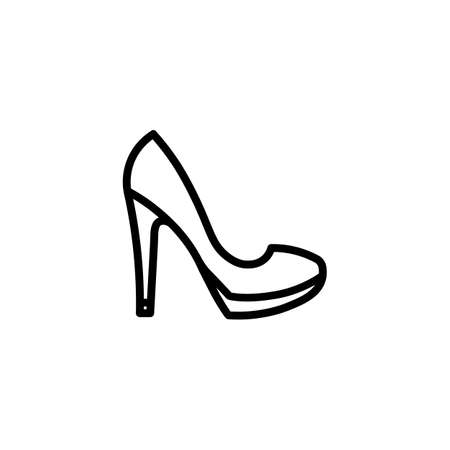 Women s high heel pump with a tag icon line. Shopping. Footwear. Fashion. Objects.
