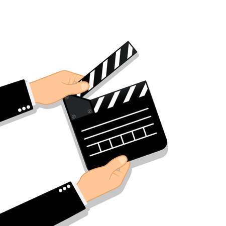 Movie clapperboard in human hands. Film icon. Cinematography concept. Vector on isolated background. Vektorové ilustrace