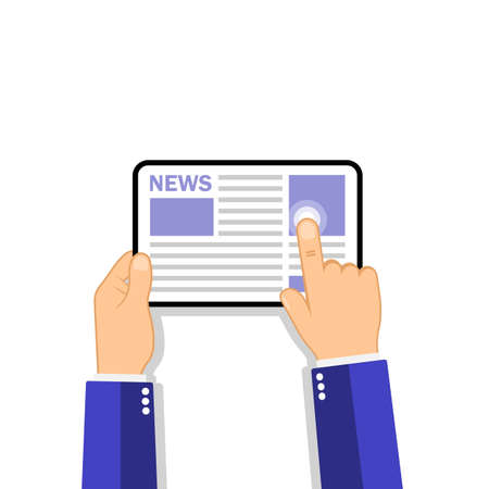 Hands holding tablet computer with news icon on the screen.. Flat design concept on isolated background. Eps 10 vector. Business concept.