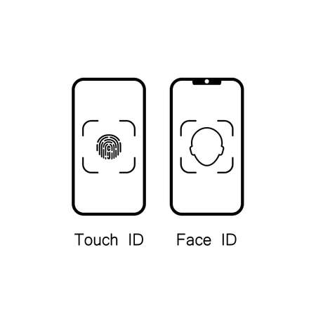 Touch id and face id on mobile device icon. Vector on isolated white background.