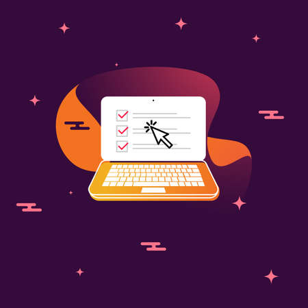 Checkboxes on laptop computer screen with cursor. Checklist and check marks. Modern concept for web banners, websites, infographics. Isolated vector illustration in flat modern style