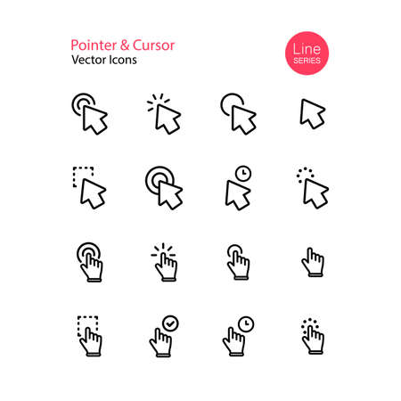 Pointer cursor line icon set. Computer mouse, click, arrow, touch gesture, selection, finger. Vector on isolated white background. Eps 10.