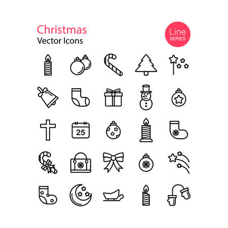 Christmas line icons set. Vector on isolated white background.