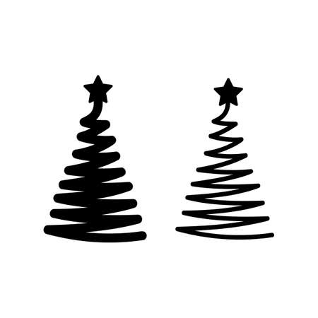 Christmas tree icon. Silhouette one line drawing. Vector on isolated white background. Ilustracja