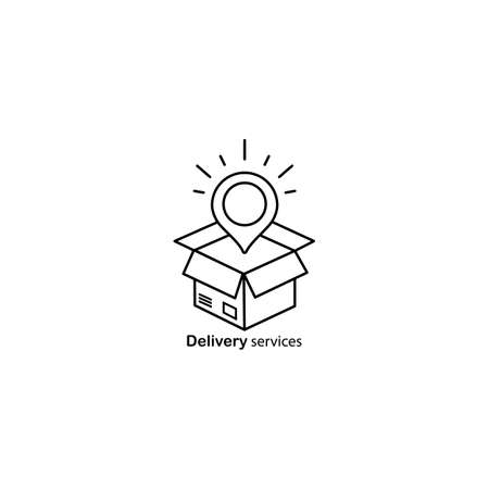 Delivery services, opened box, relocation concept, cargo shipment icon. Vector on isolated white background. EPS 10