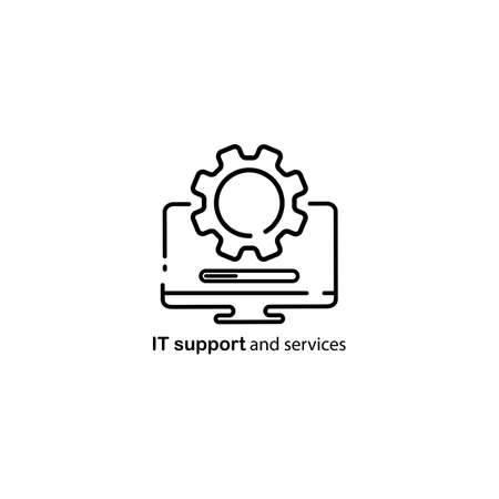 Technical support, computer repair service icon. Vector on isolated white background. EPS 10
