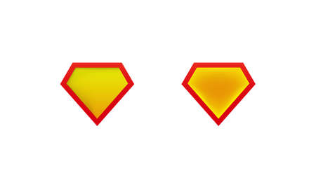 Layouts super man shield icon with shadow. Superhero label mockups. Vector on isolated white background. EPS 10 Stock Illustratie