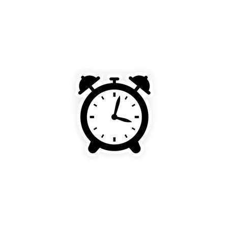Alarm clock icon. Sticker. Vector on isolated white background.