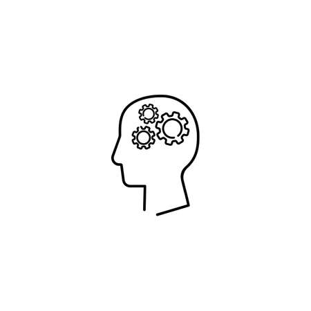 Human head with gear inside line icon. Artificial intelligence. Technology progress. Vector on isolated white background. 일러스트