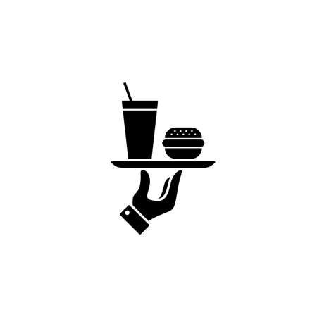 Fast food icon. Burger, hamburger and soda takeaway. Vector on isolated white background.