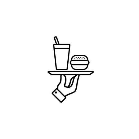 Hand holding tray with fast food. Line icon. Burger, hamburger and soda takeaway. Vector on isolated white background. 일러스트