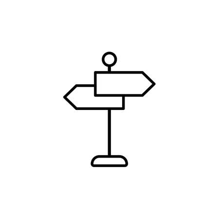 Signpost line icon. Road sing. Vector on isolated white background. 向量圖像
