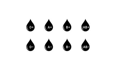 Drop of blood, blood type icon set. Vector on isolated white background.
