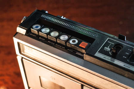 Retro boombox ghetto blaster outdated portable radio receiver with cassette recorder from 80s