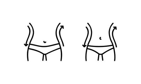 Fat and slim figure icon. Female body before and after the diet. Vector on isolated white background.