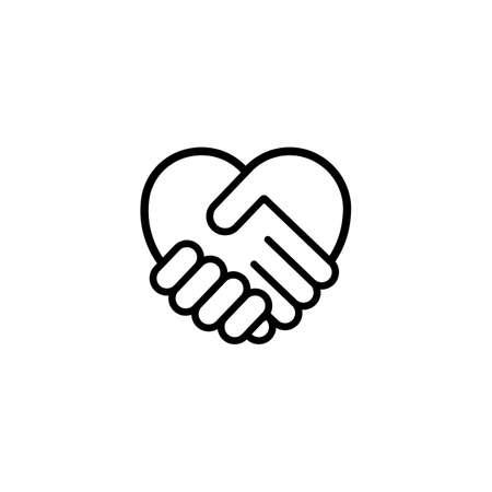 Heart shape icon. Handshake. Symbol friendship day, love.