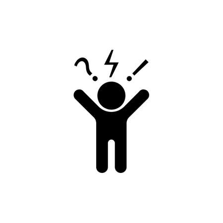 Man, angry, aggressive icon. Negative thinking sign. Bad mood client, customer negative behavior. Vector on isolated white background