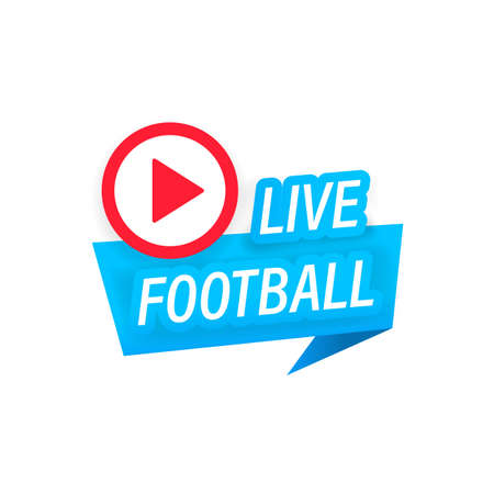 Live Football streaming icon. Button for broadcasting or online football stream. Vector on isolated white background Ilustração